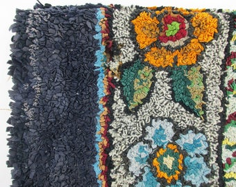 Early 1900s Tied Rag Rug - Shabby With Holes - Hand-made - Tied Rag Rug - Farmhouse Chic - Oval Rug With Burlap Binding