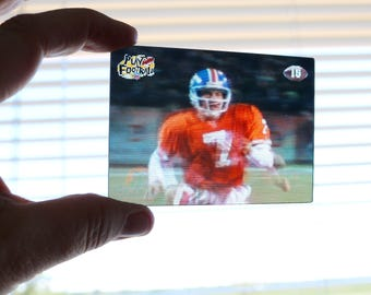 John Elway 3D card, mint condition Movi Motion John Elway card, 1997 John Elway card, Denver Broncos, collector card, 1990s football