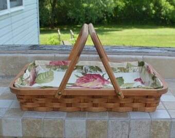 Casserole serving basket handles rectangle Cherry wood