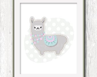 Cute Alpaca, kawaii nursery printable art, pink gray blue olive. Digital download modern style. Images for kids room. Lama peruvian alpaca.