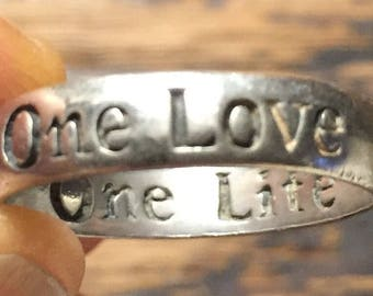 One Love One Life Ring Promise Ring or Wedding Band Vintage Sterling Silver Wedding Ring Loving Phrase Size 9 3/4 U2 Song Phrase