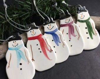 Snowman Ornament, Frosty Snowman Ornament, Handmade pottery snowman ornament, Ceramic snowman ornament, teacher gift, ornament exchange