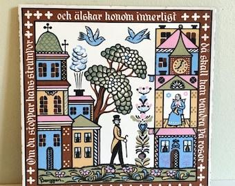 Save 15% OFF Berggren Ceramic Tile Swedish Dalmalningar 6 x 6 Kitchen Trivet Wall Decor Colorful Scenes #151 'If You Darn His Socks He Will