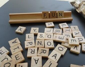 Scrabble Tiles 100 Complete Scrabble Wood Letter Tiles, wood game pieces, vintage Scrabble crafts, Letter tiles, Scrabble Pendant Supplies