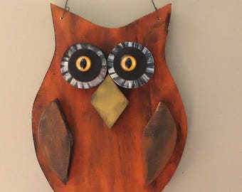 Primitive Halloween Owl Door decor, painted wood rustic vintage style Halloween decoration. porch patio