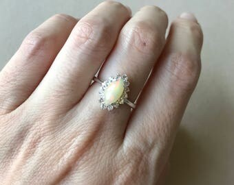 Marquise Opal Engagement Ring- Cabochon Opal Promise Ring- Halo Opal Ring- October Birthstone Ring- Sterling Silver Ring- Unique Opal Ring