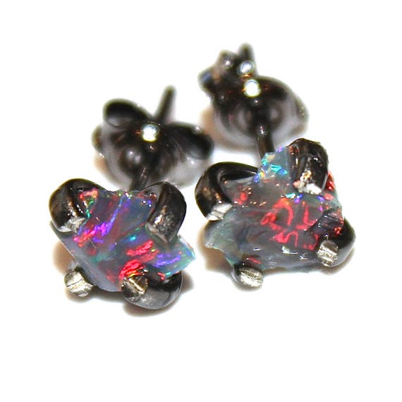 Tiny Jelly Opal Earring in Black Gold