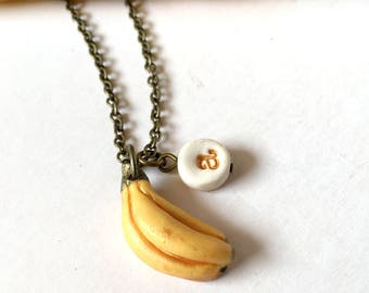 Banana necklace, Fruit Girl Jewelry, letter necklace for girls, Banana Charm, Personalized girl gift