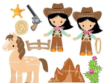 ON SALE INSTANT Download. Cowgirls clip art. Ccg_14. Personal and commercial use.