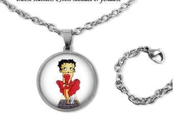 """Betty Boop Necklace in Quality Stainless Steel Bezel & Chain - Choose Pendant or Necklace with 18"""" Chain - Choose Design Betty Boop Jewelry"""