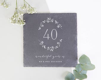 Wedding Anniversary Gift Personalised Slate Serving Board