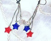 Upcycled Star Earrings In Red White & Blue Crystals 4th Of July Danglers Handmade Jewelry by NorthCoastCottage Jewelry Design