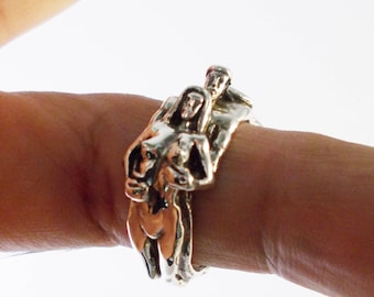 Adam And Eve Sterling Silver Erotic love Ring