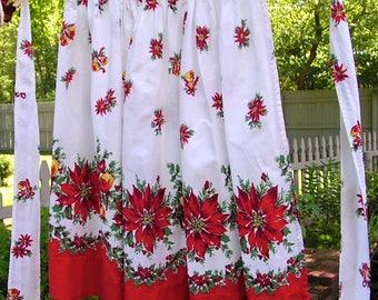 Christmas Apron vintage half apron Red Poinsettias and Bells on White Cotton
