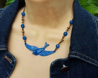 Blue Bird Choker Necklace,  Lapis Blue  Bird Bobo Bibb Necklace,  Blue Bird Charm Choker Necklace, Blue Bird of Happiness Necklace
