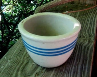 tiny antique stoneware custard cup with blue stripes