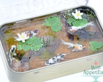 Miniature Koi Pond Inside Large Altoids Tin, Miniature Resin Pond, Polymer Clay Koi Fish, Altoids Tin Pond
