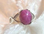 10x8mm Star Ruby Ring (Lab) Crisscross 925 Solid Sterling Silver Size 7