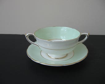 Vtg PARAGON Bone China Light GREEN Band Footed Cream Soup Bowl & Saucer Set