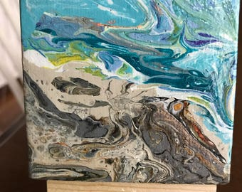 "Acrylic pour 3"" x 3"" mini-canvas with easel"