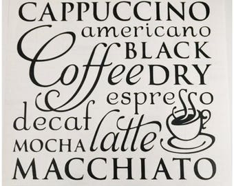 "12"" x 12"" - Kitchen Vinyl Wall Decal - Coffee Subway Art - Cappuccino Americano Espresso Decaf Mocha Latte Macchiato Kitchen Wall Decor"