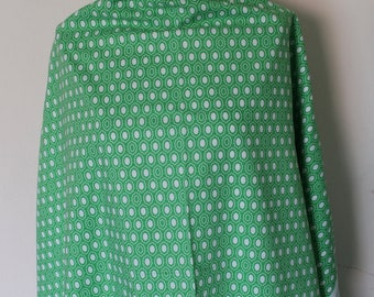 Cotton fabric green with white designs