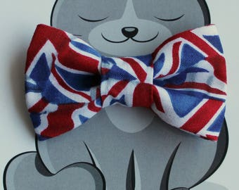 Union Jack Bow Tie for Cat or Dog, Pet Clothing, Slide on Collar Accessory, Pet Bowtie, Handmade in Canada, Flag