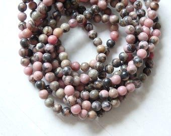 "4mm Rhodonite beads - 15.5"" strand of small pink rhodonite beads, pink and neutral tone beads, small pink gemstone beads, natural gemstones"