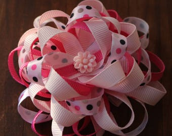 Pretty in Pink Loopy Ribbon Flower Hair Bow