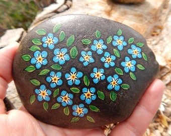 Forget me nots, blue forget me nots painting,  Blue Flowers Hand Painted Rock Art