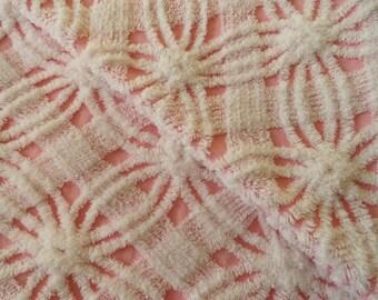 "INVENTORY SALE...Pink Chenille Vintage Morgan Jones Wedding Ring and Lattice Bedspread Fabric Piece...12 x 25"""