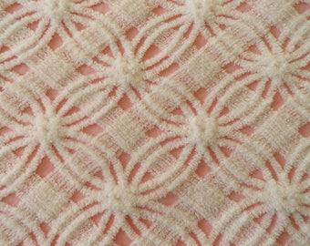 "INVENTORY SALE...Pink Chenille Vintage Morgan Jones Wedding Ring and Lattice Bedspread Fabric Piece...12 x 18"""