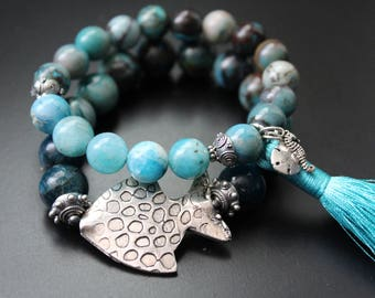 Sea life charms tassel bracelet turquoise blue gemstones bracelet beach boho stretch bracelet Bali sterling summer fun festival bracelet