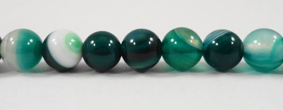 "Dark Green Striped Agate Beads, 6mm Round Agate Gemstone Beads, Green Banded Agate Beads, Agate Stone Beads on a 7 1/4"" Strand with 31 Beads"