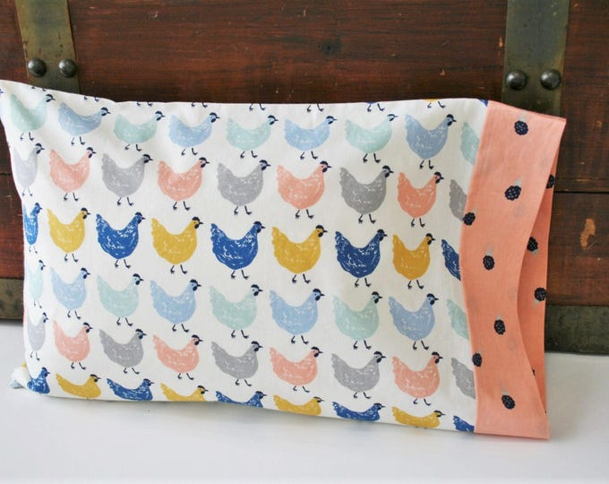 Featured listing image: Organic Toddler Pillowcase, Organic Travel Pillowcase, Girl, Kids, Pillow Case, Organic, Chickens, Farmstead, Farm Animals, Eco pillowcase