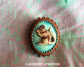 Rat embroidered ceramic brooch