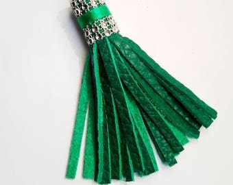 Emerald green textured leather tassel and silver rhinestone Crown