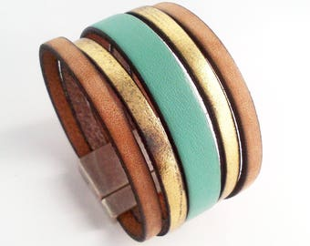 vintage gold and Mint green leather cuff with silver clasp