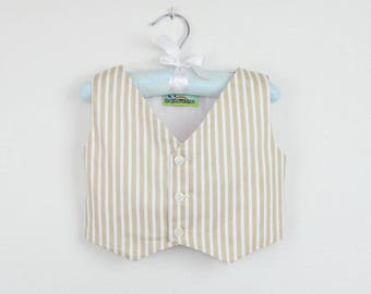 Boys Vest - Beige stripe vest - Other colors available