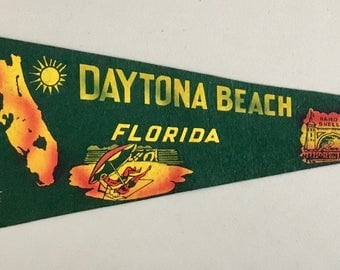 Vintage 'Daytona Beach Florida, Band Shell' Pennant