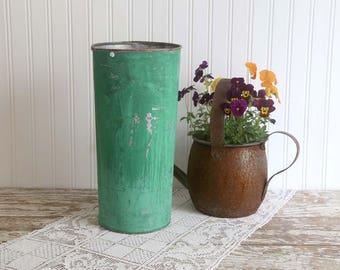 Vintage Sap Bucket, Green Sap Bucket, Rustic Farmhouse Decor, Rustic Sap Bucket, Galvanized Bucket, Cottage Garden, Rustic Garden Decor