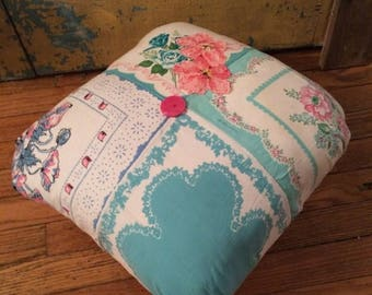 SUMMER SALE Upcycled Vintage Hankies - Footstool