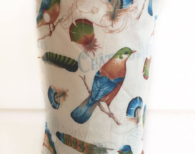 Unpaper towels, Roll of 12 cotton terry cloth kitchen towels, Birds and Feathers Snap together towels, cotton napkins, Reusable paper towels