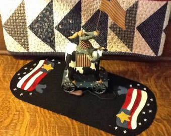 Flag Candle Mat wool applique kit and pattern