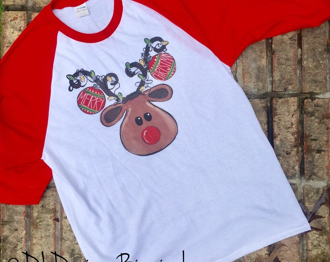 Rudolph christmas raglan tee shirt, red sleeves, youth and adult sizes, screen printed