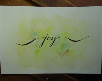 Hand Calligraphy - Joy - Wall Art - Watercolor - Poster - Brush Calligraphy