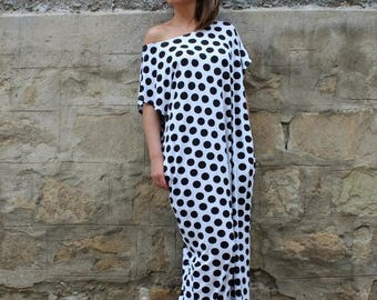 SALE ON 20 % OFF Black and white polka dots dress, maxi dress, caftan dress, long dress, Summer Dress