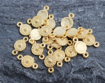8   connectors round 22k matte gold plated coin tribal ethnic links 10mm turkish jewellery supplies findings mdla399