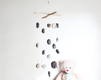Driftwood Mobile with Felt Pebbles -- Wooden Mobile with Felt Rocks -- Rustic Interior Design -- Nautical Decor -- Ready to Ship