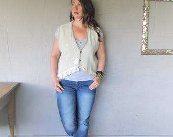 upcycled natural Linen vest romantic lace clothing recycled cropped Lagenlook top Large X L Bohemian fun clothes Boho Eco LillieNoraDryGoods